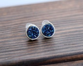 Druzy Studs, Blue Bezel Wrapped Petite Titanium Druzy Quartz in Gold , Rose Gold , Sterling Silver , Modern Jewelry