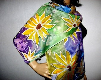 SILK SCARF Sunflowers Hand painted Women Fashion fall Scarf