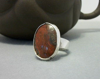 Rustic sterling silver ring with natural Mexican crazy lace agate. Size 9.75 US - sterling jewelry- sterling silver ring - gemstone ring