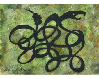 Snake Charm Papercutting, ACEO, Handcut Original, Watercolor