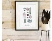 Minerals & Gems - Scientific Illustration. Beautifully textured cotton canvas art print. Order as an 8x10 11x14 or 16x20 size. Vol.2