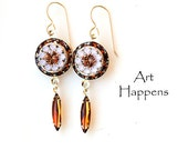 "Smokey Quartz, Rosewater Opal and Pink Swarovski Crystal Earrings with Vintage Topaz Navette dangles, ""Sweetie Pie"""