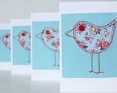 Sewn bird card, blue and red floral