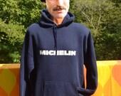 vintage 80s hoody sweatshirt MICHELIN tires hoodie Large XL navy blue
