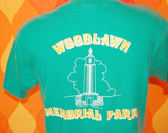 vintage t-shirt 80s WOODLAWN memorial park cemetery tee Large