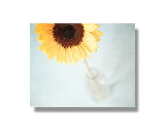 Sunflower canvas art, shabby chic decor, pale blue, yellow, flower photography, flower wall art, ready to hang - A Dose of Sunshine