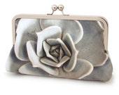 Succulent clutch bag, silk purse, grey blue petals, desert plant, bridesmaid gift
