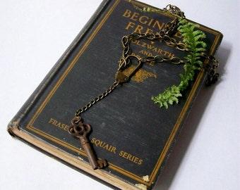 SALE...Vintage Barrel Skeleton Key Necklace
