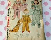 1940's Simplicity Pattern 4025 Childs Pajamas & Laundry Bag with Rabbit Doll