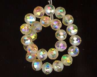25 Exquisite Vintage West German Jonquil AB Smooth Frosted W/Sparkly FACETED AB Center Glass Beads 8mm From Original Hank No.57A
