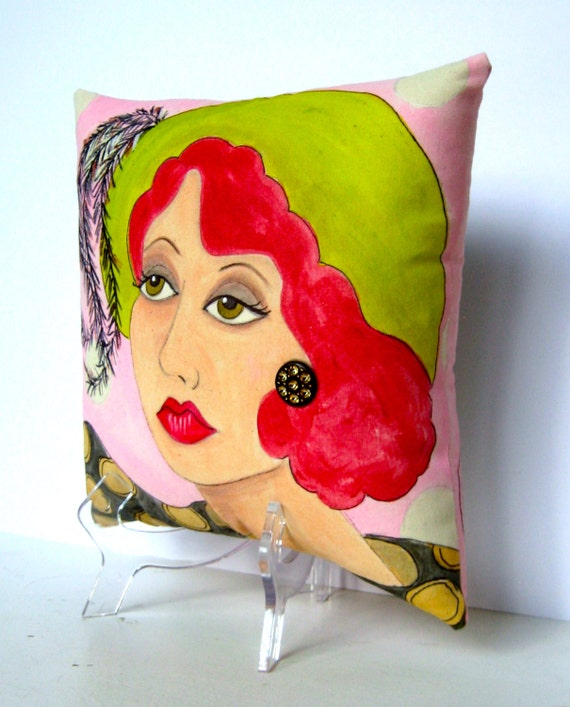 ESTELLE MIDLIFE MADONNA, hand painted pillow,  feathered hat, novelty, decorative pillow, fun quote, pistachio green, gift for her, pink