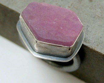 Raw Ruby Ring, Crystal Slice, Sterling Silver Ring