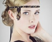Black And Antique Gold Beaded Flapper Headband Headpiece