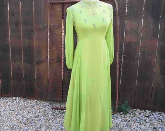 Green Beaded dress 60s Green Party Dress 60s Party Dress Lime vintage Chiffon dress 60s Green Dress  alternative wedding gown  S M