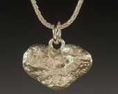 Silver Pendant, Silver Necklace, Flat Heart Stone Pendant - Heart Stone Collection