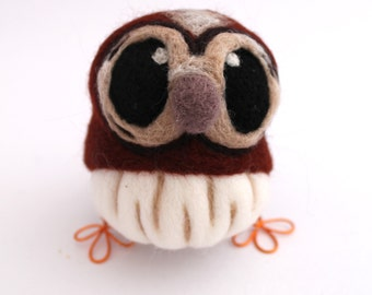 Needle Felted Owl Tawny Owl in Chestnut brown