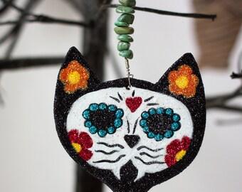 Day of the Dead Cat Original Clay Halloween Folk Art Ornament