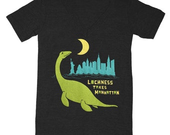Loch Ness Monster - V-neck T-shirt Awesome Funny Dinosaur SciFi Retro Tee Shirt Cool Manhattan New York NY Lochness Tshirt Vneck - Tri Black