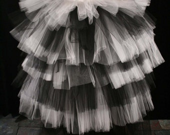 Goth Wedding tutu tulle skirt ruffles romantic prom formal floor length dance bridal white black layered -All Sizes- Sisters of the Moon