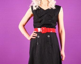 50s Black Cotton Dress - Nelly Don A Line - Medium