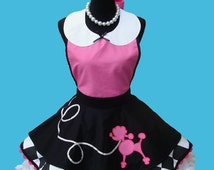 Apron - Women's Poodle Apron - Poodle Skirt Costume Apron , 50s Retro Rockabilly Sock Hop Party Apron MADE TO ORDER