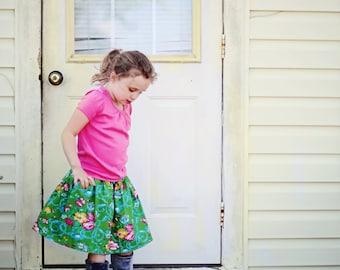 Elastic Banded Skirt PDF Sewing Pattern Tutorial sizes newborn through 14 girls Instant