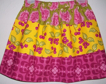 Girls Skirt with Cherries Farmers Market Michael Miller Three Fabric Skirt with Paisley Summer Skirts Fall Skirts Toddler Skirts