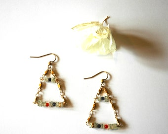 Geometric Square Cut Green Amethyst Earrings with Gold Vermeil Gold Chain Carnelian and Tanzinite Gemstones