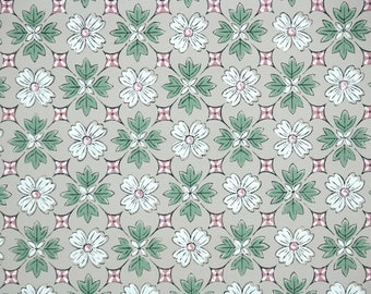 1940's Vintage Wallpaper - Geometric Wallpaper with Burgundy Red, Green, and White Geometric Design on Gray