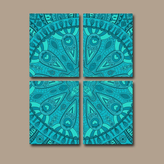 Items Similar To Aztec Wall Art Canvas Or Prints Tribal Artwor Pottery Turquoise Bedroom