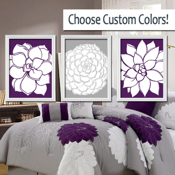 Bedroom Wall Art Grey: Grey Purple Wall Art Bedroom Pictures CANVAS Or By TRMdesign