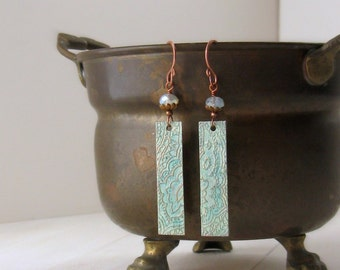 Henna etched copper earrings - mendhi patterned earrings - turquise dyed metal