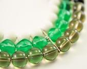 Elegant Triple Strand Statement Necklace, Smokey Quartz, Bright Green Glass, Free Shipping, OOAK
