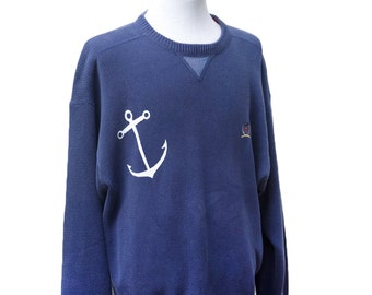 Men's Sweater / Vintage Upcycled Tommy Hilfiger Sweater / Screen Printed Anchor / Size Large