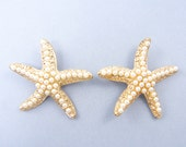 Large Starfish Pendant Large Starfish Earring Findings Gold White Pearl Nautical Pendant Charms |G16-10|2