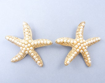 Large Gold Starfish White Pearl Pendant Charms |G16-10|2