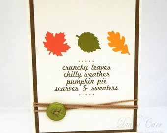 Handmade Fall Card - Thanksgiving Card - Autumn Leaf Cards - Fall Leaves Card - Thankful Cards