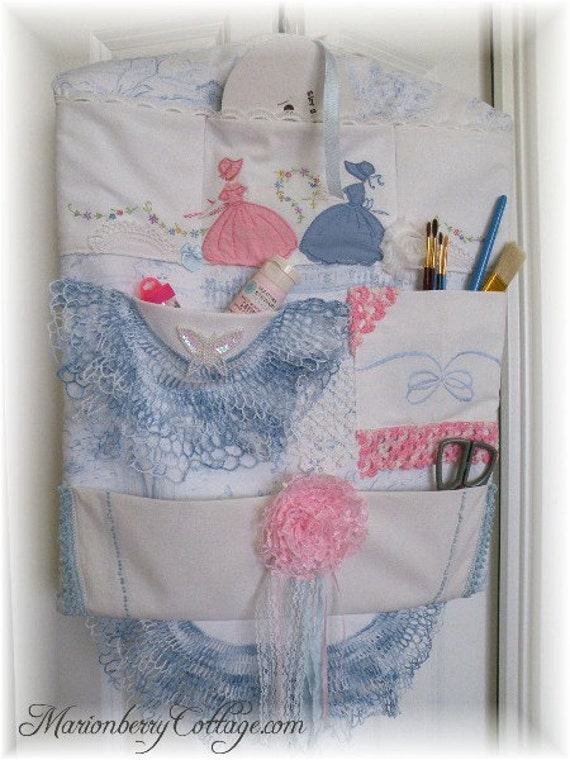 Multi pocket craft/sewing organizer Blue/Pink Vintage Cottage Southern Belle shabby cottage ECS, rdtt svfteam