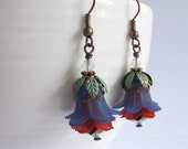 Blue Red Lucite Flower Earrings with Patina Leaves. Nature Inspired Dangle Drop Antiqued Copper Czech Glass Flowers Ear Jewelry