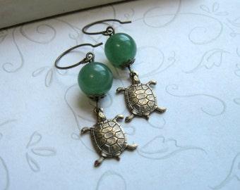 Turtle earrings, green adventurine beads, brass charms