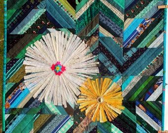 Daisy, Daisy Quilted Art Wall Hanging - Heirloom Fiber Art