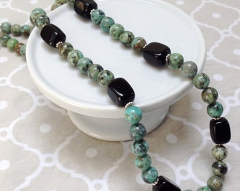 Green and Black Stone Beaded Necklace