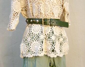 30% SALE 70s studded leather belt / khaki olive green / boho festival OOAK unisex belt 31 inches