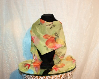 Vtg 70s Italian Scarf - Citrus and Roses