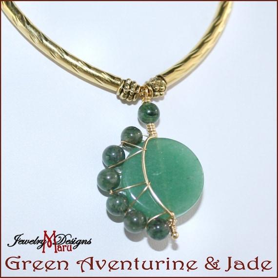 Crescent Moon Necklace in Green Aventurine Emerald Jade  Genuine Gemstones