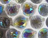 6 (six) Asfour AB German Crystal 30mm prism balls with flashy Aurora Borealis finish - Feng Shui - suncatchers - dangles - ornaments