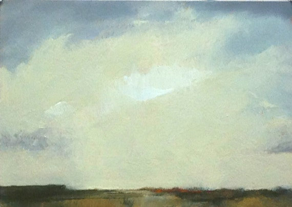 ABOVE IT ALL, oil painting original landscape 100% charity donation, 5x7 oil painting on paper, clouds, cream, field