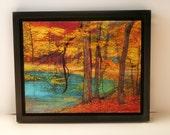 Faery woods, 11x14 inch image, Black float frame, trees, autumn woods, trees, original art, mixed media photograph