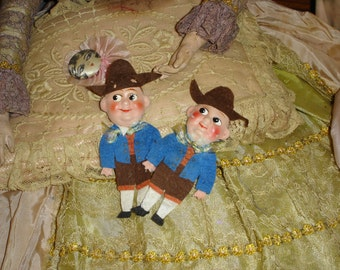 2 Vintage Felt and Paper Mache French Doll Pins
