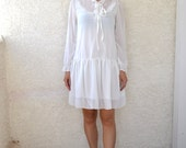 SALE white ruffled dolly long sleeve dress sz S